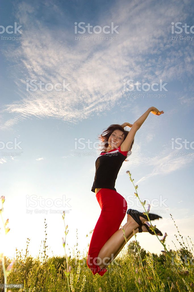 happy jumping girl royalty-free stock photo