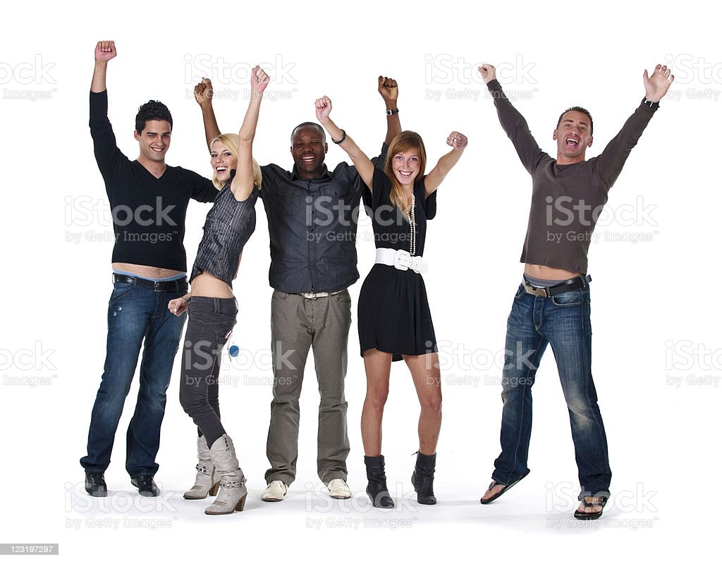 Happy jumping group raising hands royalty-free stock photo