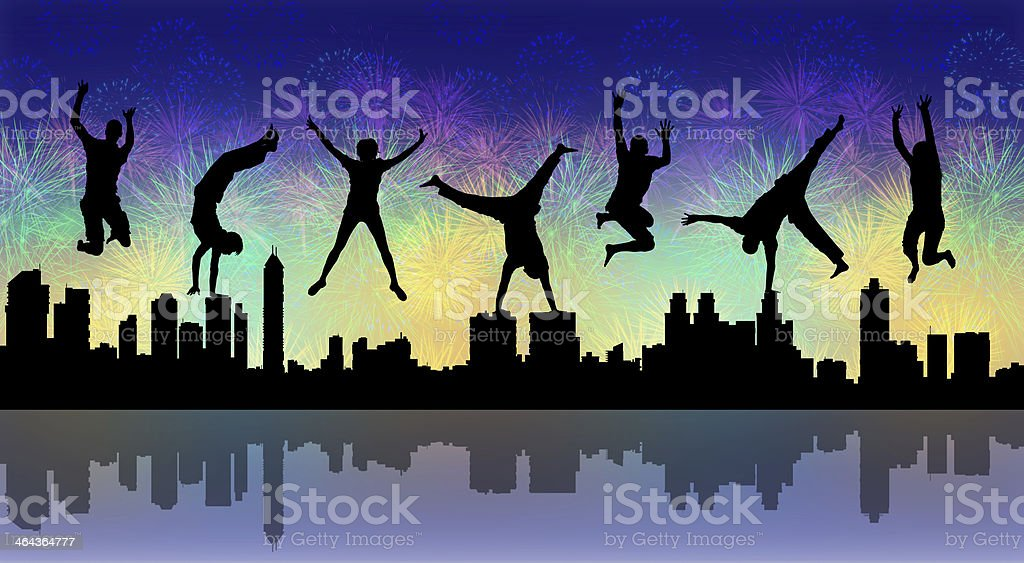 happy jumping people with a night firework stock photo