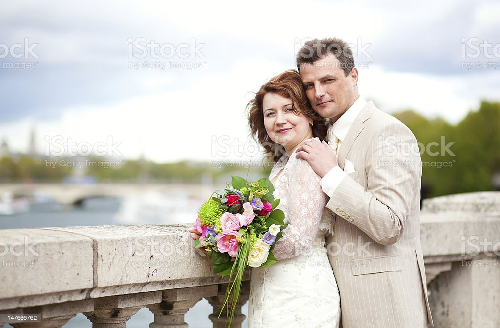 Happy just married couple outdoors royalty-free stock photo