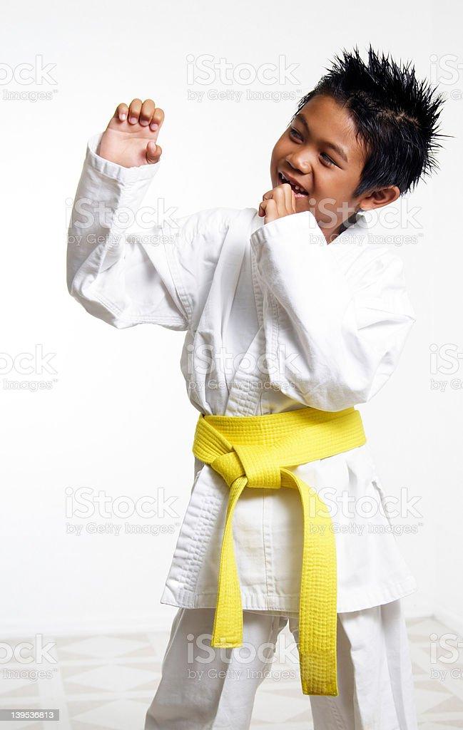 Happy Karate Kid stock photo