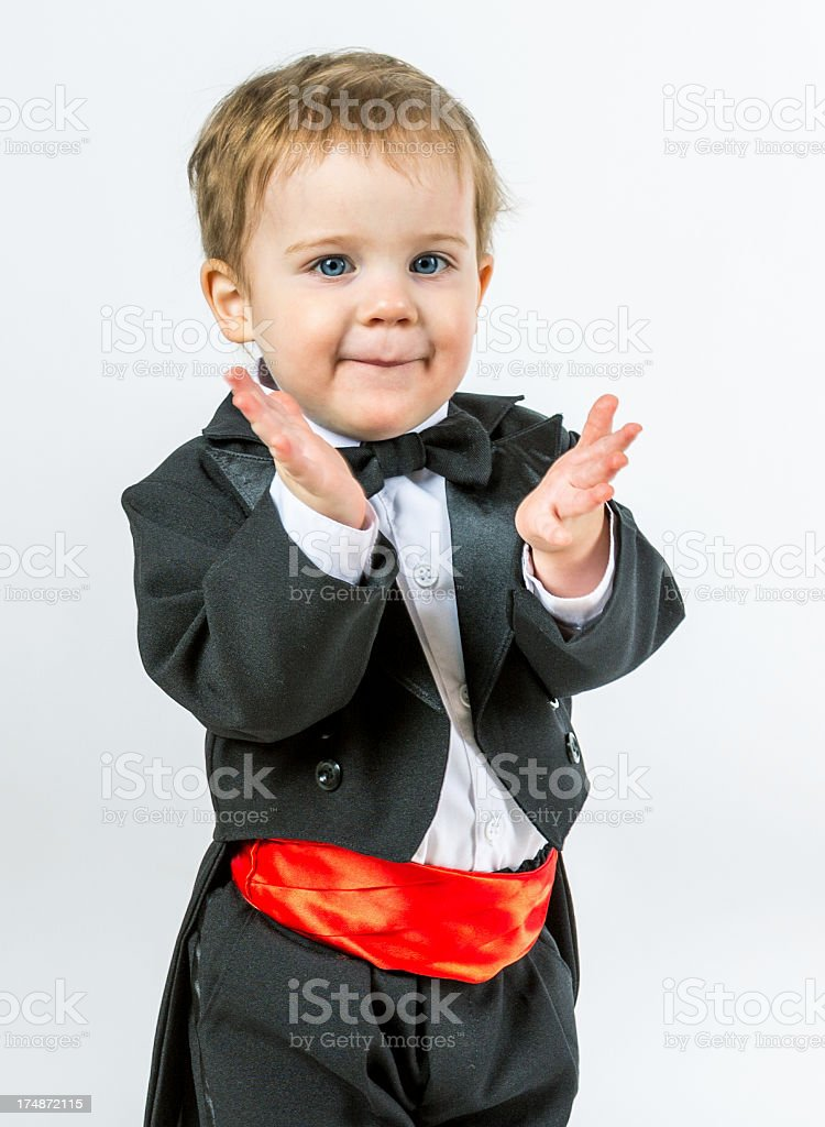 Happy kid clapping his hands royalty-free stock photo