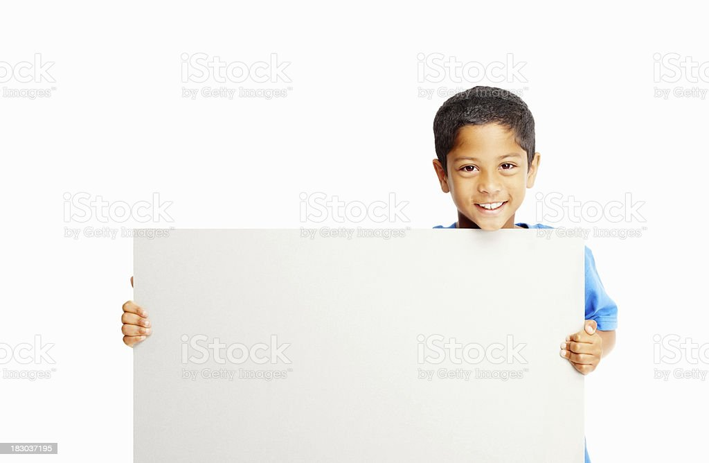 Happy kid holding blank billboard against white - copyspace stock photo