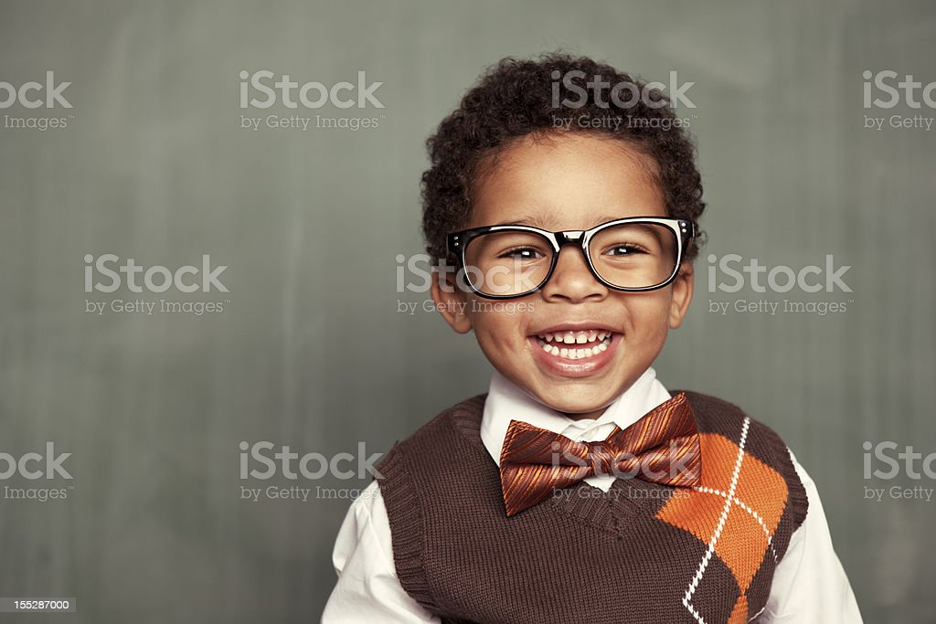 Happy Kid Nerd royalty-free stock photo