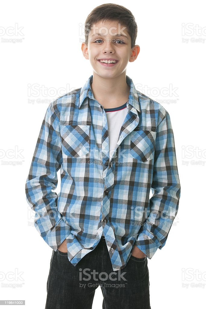 Happy kid with hands inside jeans pockets royalty-free stock photo