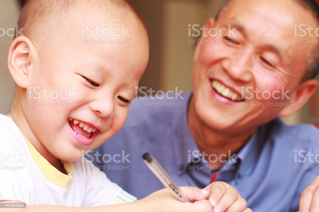 happy kid writing royalty-free stock photo