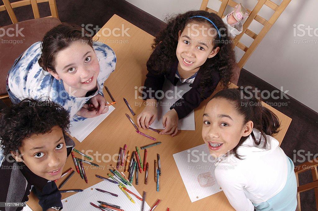 Happy kids colouring stock photo