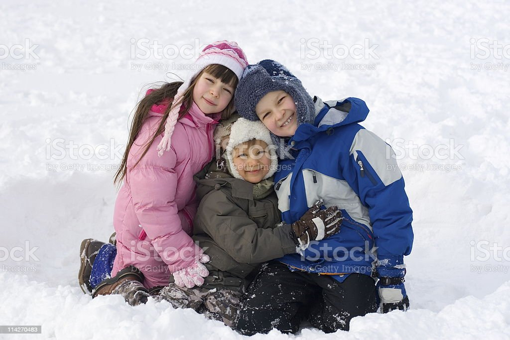 Happy Kids In Snow royalty-free stock photo