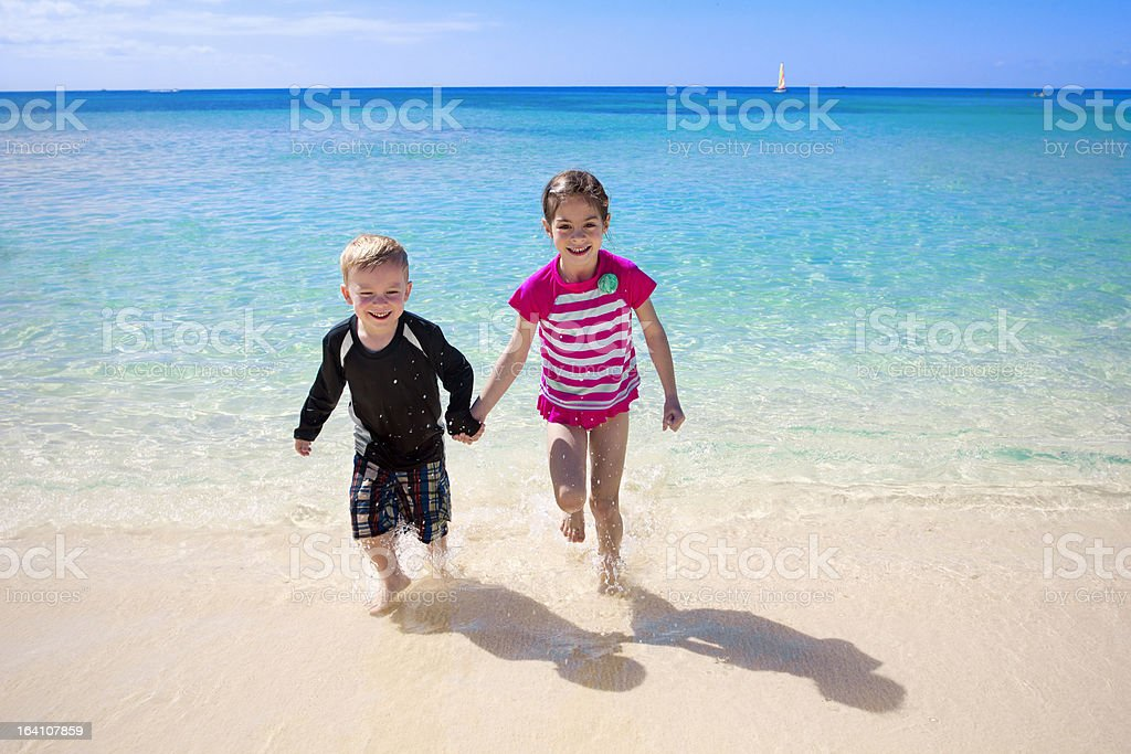 Happy Kids on a Beach Vacation stock photo