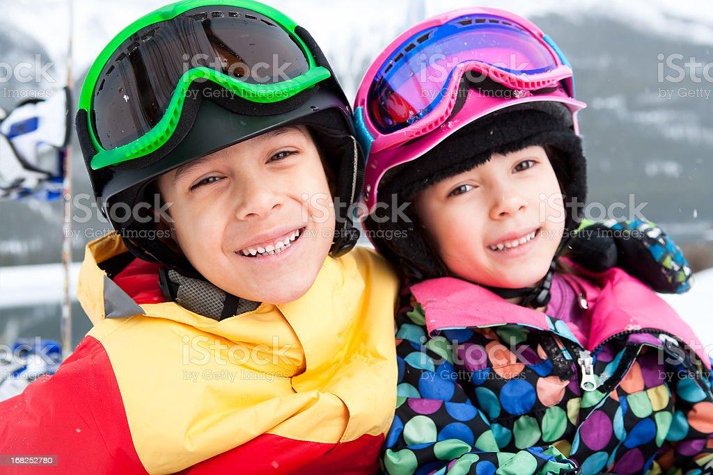 Happy Kids snowboarder portrait royalty-free stock photo