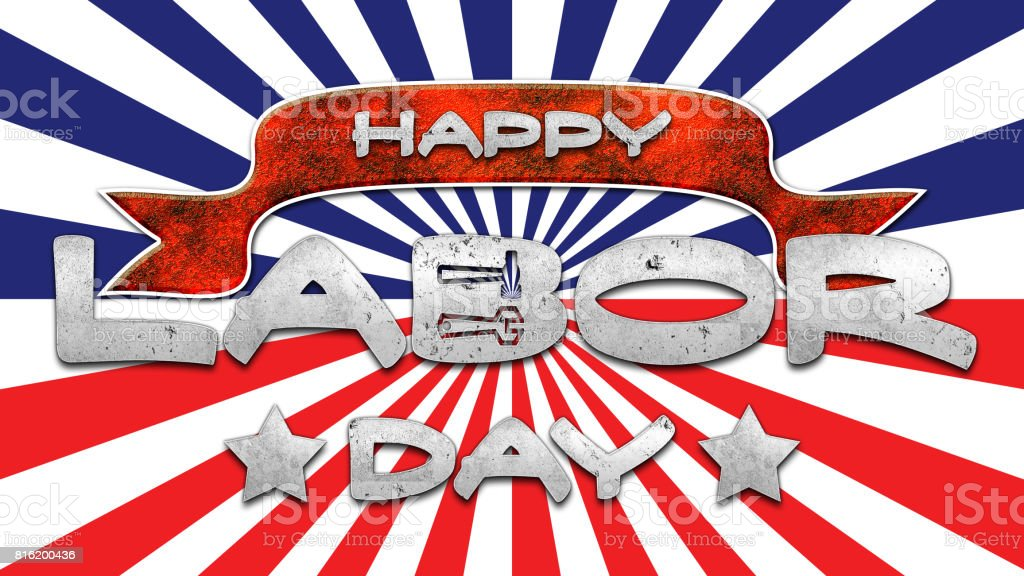 Happy Labor Day, dirty concrete text, background in colors of the flag of the USA. stock photo