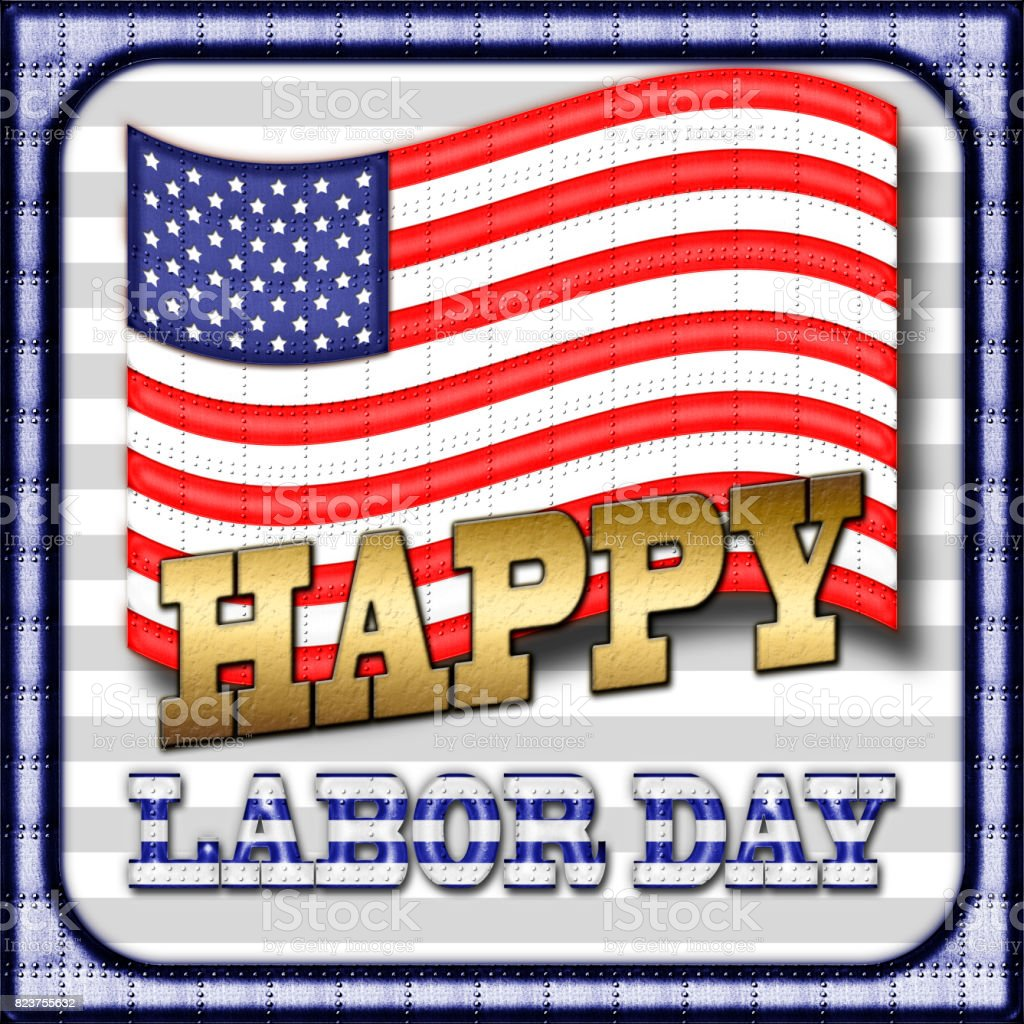 Happy Labor Day, Heavy Metal American Flag, Metal Text and Metal Border, in front of a white background. stock photo
