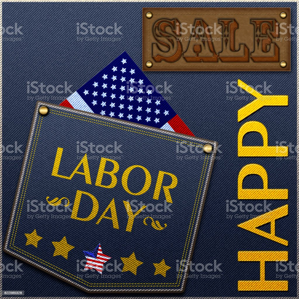 Happy Labor Day Sale, Blue Jeans Color, Jeans back pocket with stars and text, American Flag. stock photo