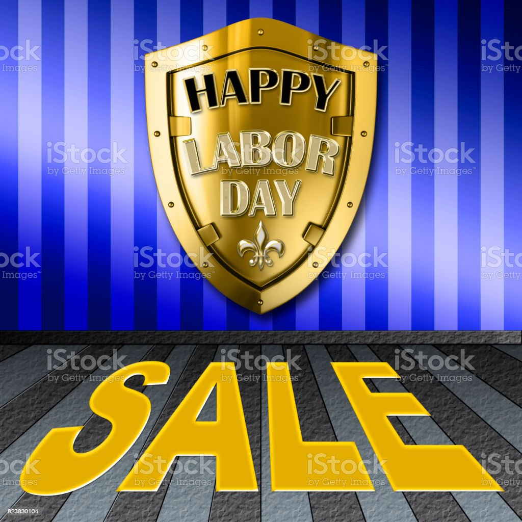 Happy Labor Day Sale, bright and shiny banner with golden shield as background, modern luxury design stock photo