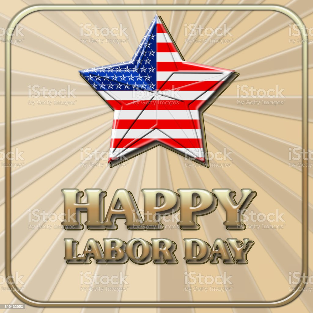 Happy Labor Day, Shiny bold text, background in sand colors. stock photo