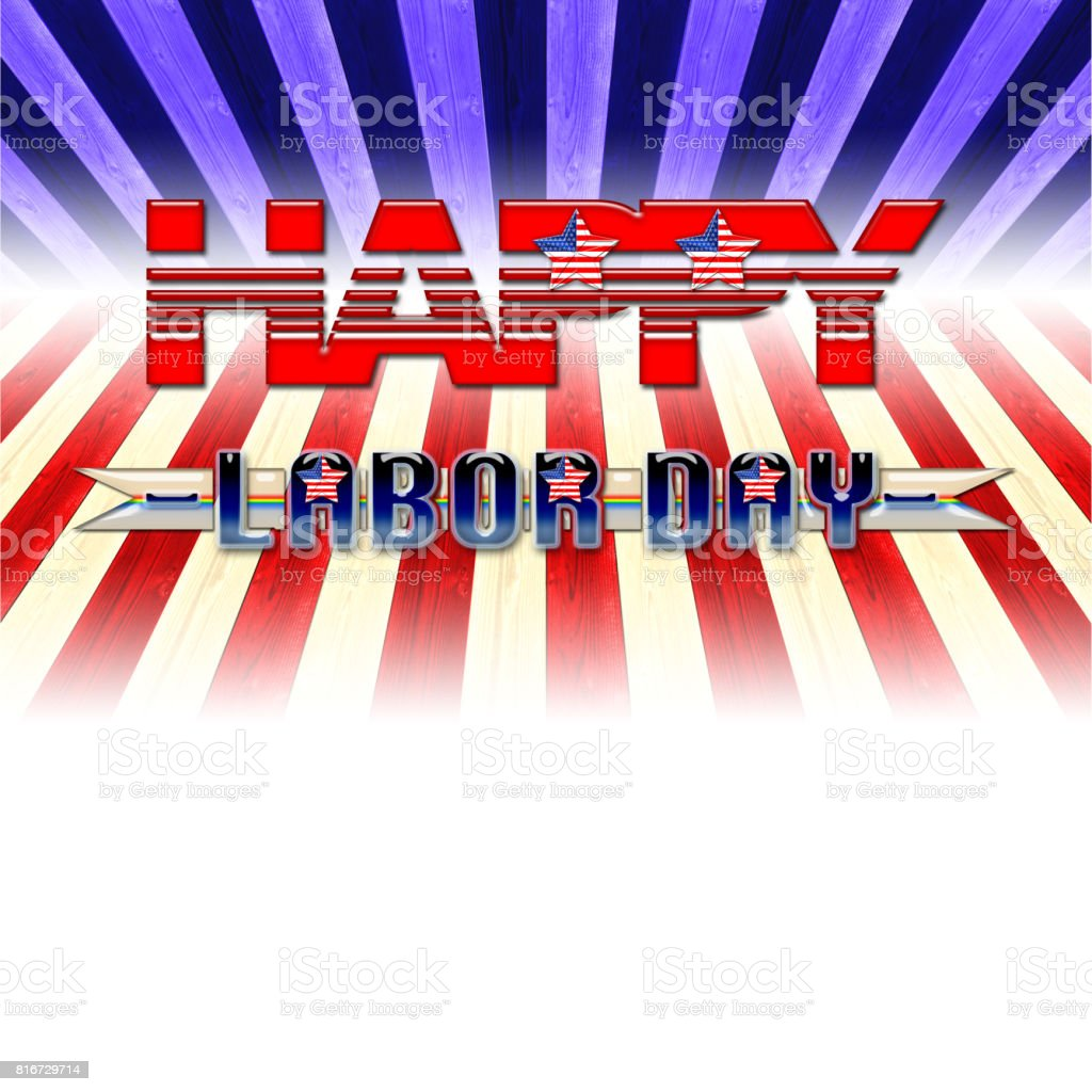 Happy Labor Day, shiny bright text, background in colors of the flag of the USA. stock photo