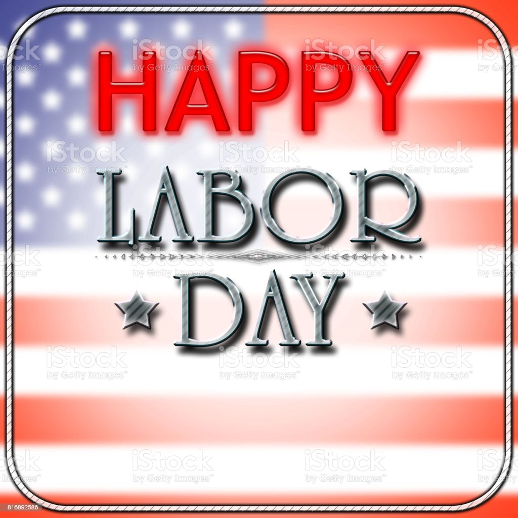 Happy Labor Day, shiny bright text, background in colors of the flag of the USA. Copy space. stock photo