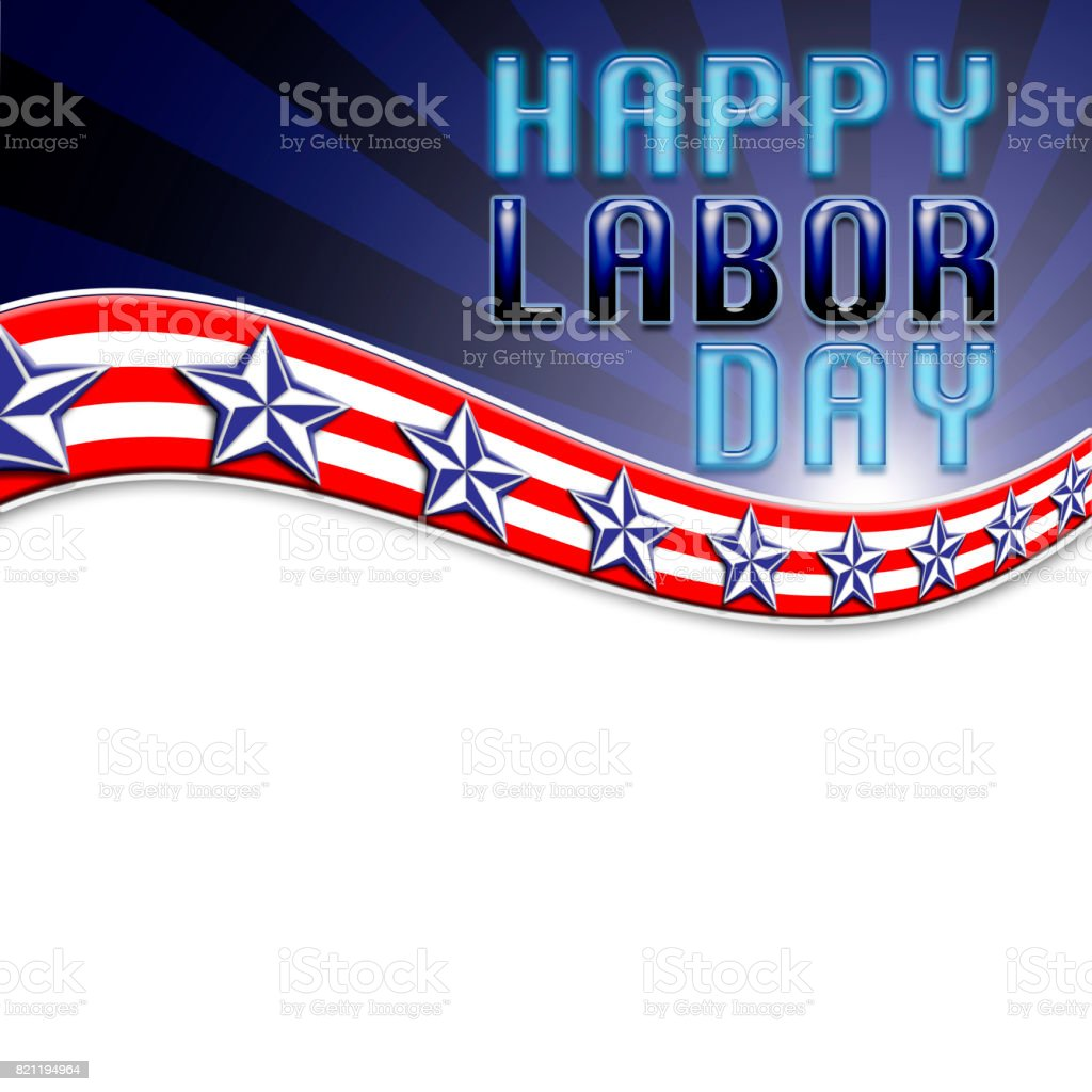 Happy Labor Day, USA white, red, and blue stripes, blue and white stars, plenty of room for your personal messages. stock photo