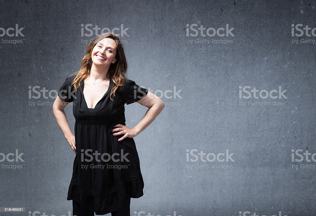 happy lady smile with empty space on background stock photo