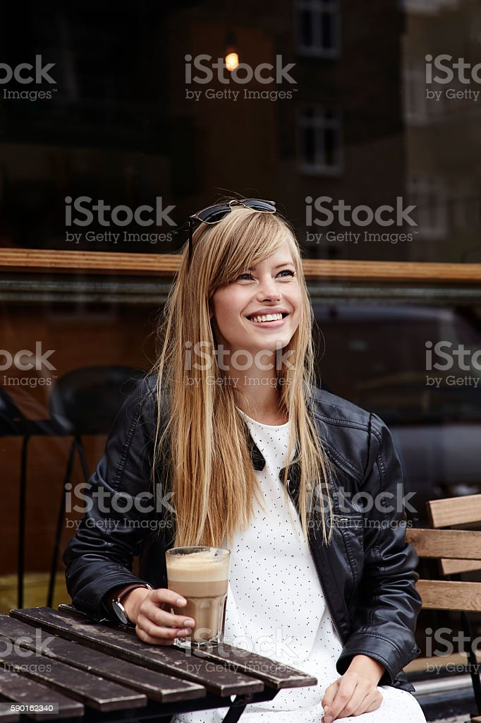 Happy lady with coffee stock photo