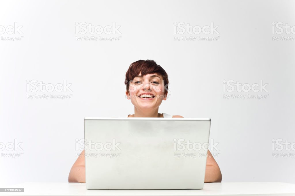 Happy Laptop Girl royalty-free stock photo