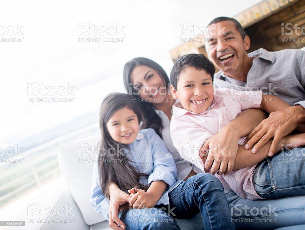 Happy Latin American family stock photo