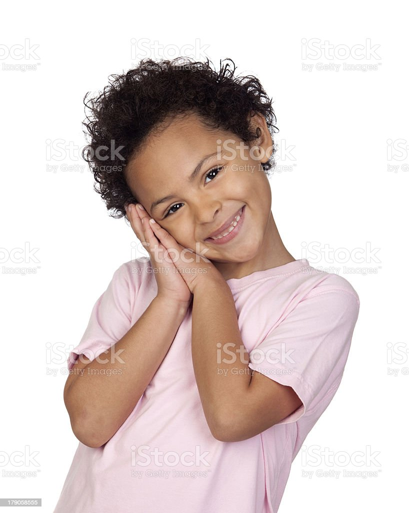Happy latin child making the gesture of sleep royalty-free stock photo