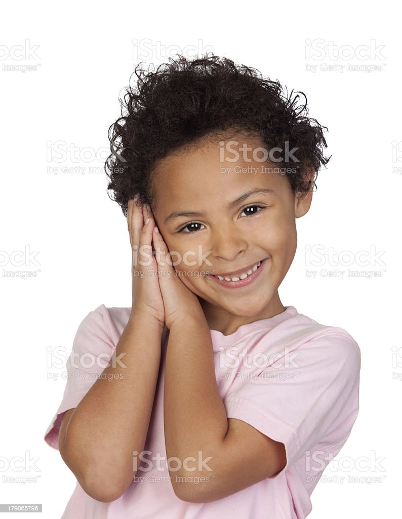 Happy latin child making the gesture of sleep royalty-free stock photo