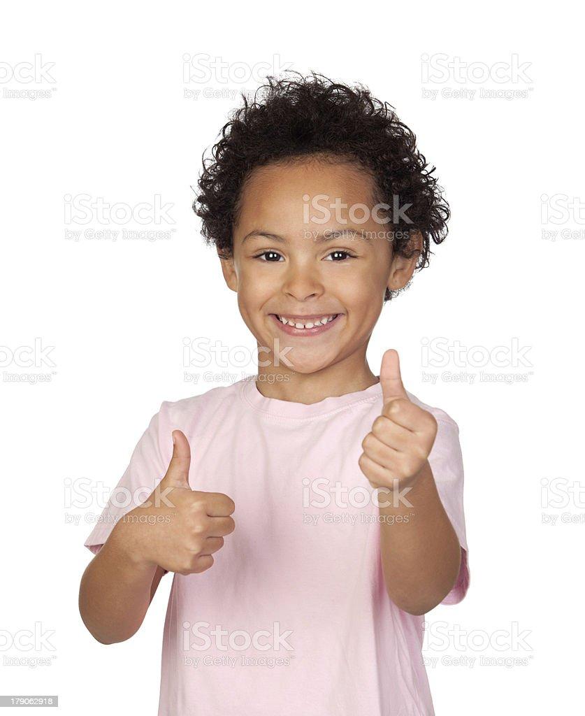 Happy latin child saying Ok royalty-free stock photo