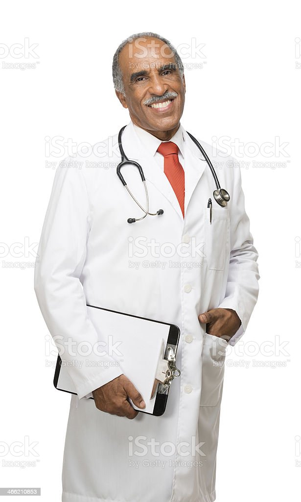 Happy latin doctor with clipboard in one hand royalty-free stock photo