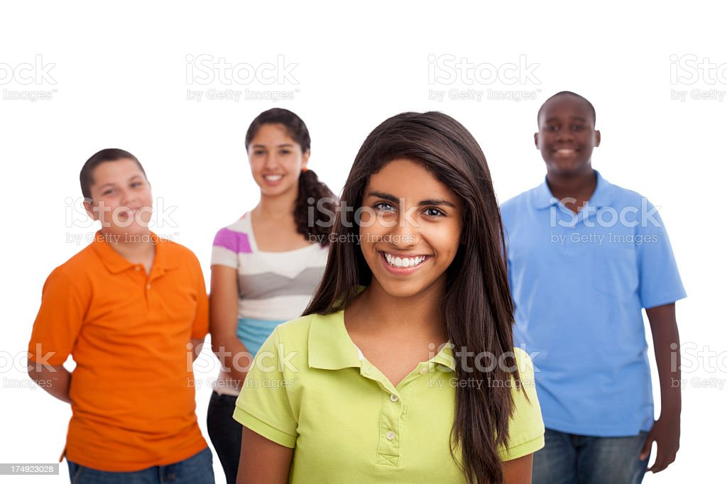 Happy latin teenage girl with friends royalty-free stock photo