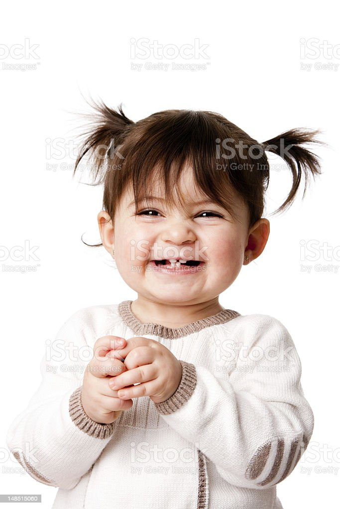 Happy laughing baby toddler girl stock photo