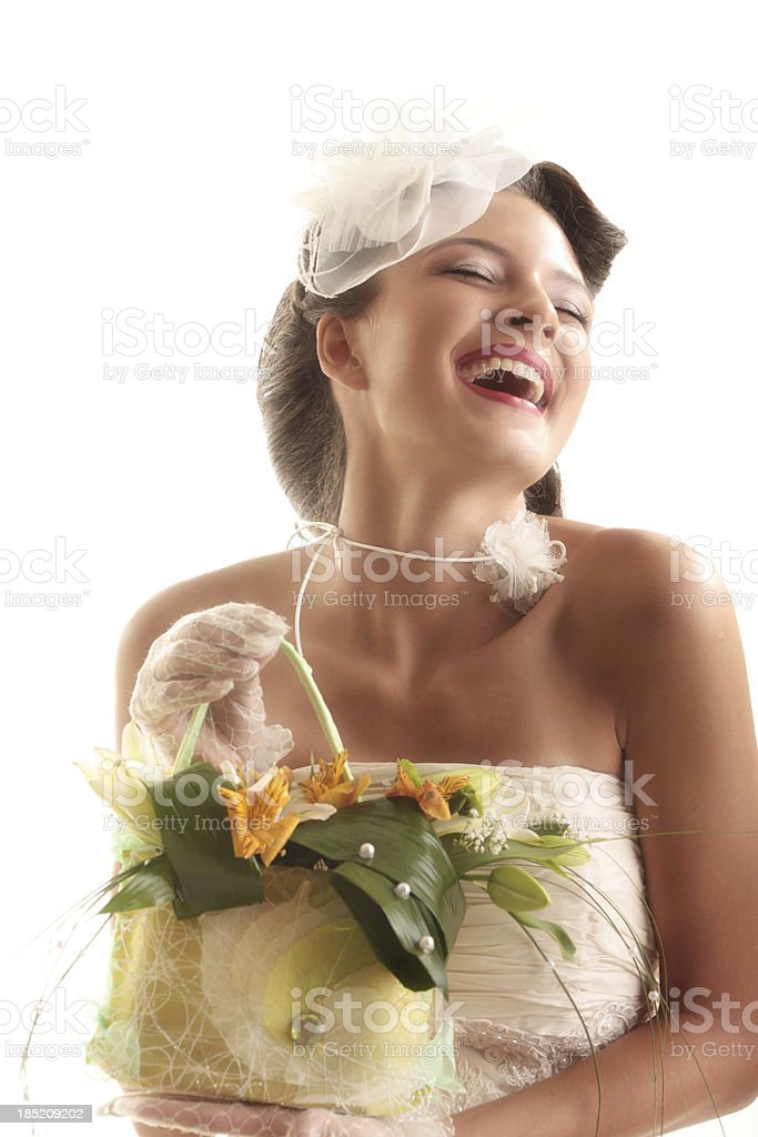 Happy Laughing Bride and Colorful Petals. royalty-free stock photo