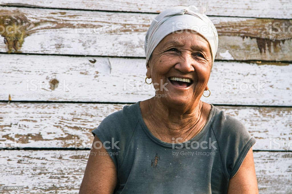 Happy laughing Cuban lady stock photo
