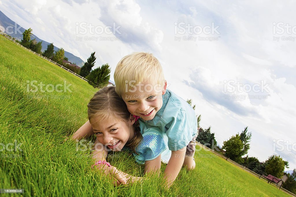 Happy laughing Kids Playing Outdoors royalty-free stock photo