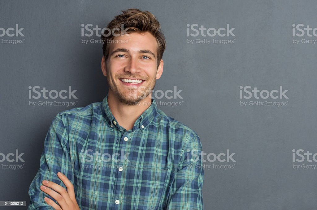Happy laughing man stock photo