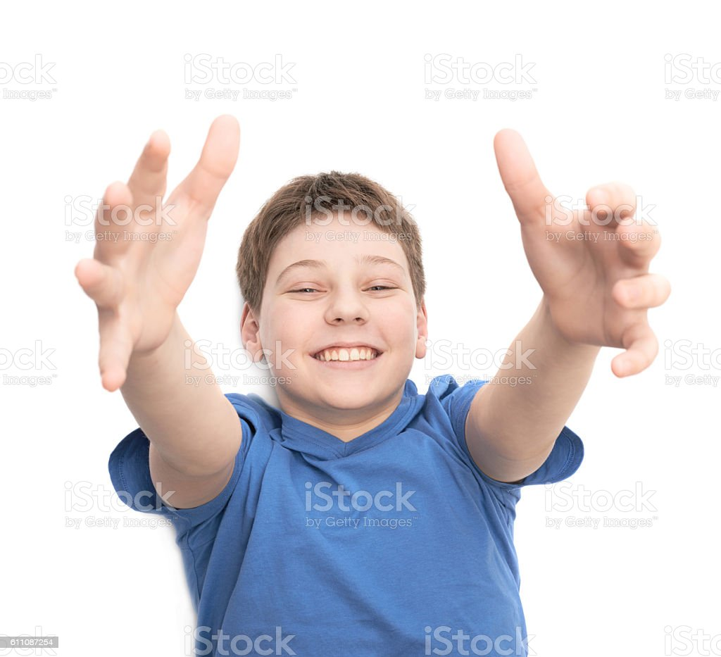 Happy laughing young boy isolated stock photo