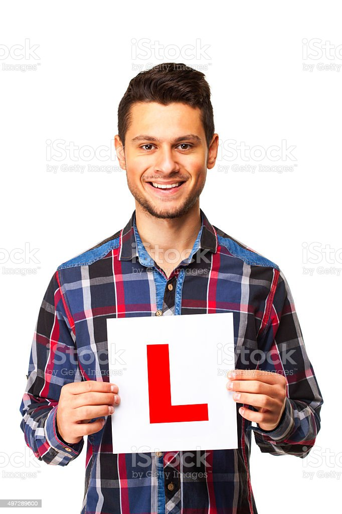 Happy learner driver stock photo