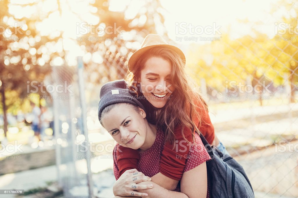Happy lesbian couple stock photo