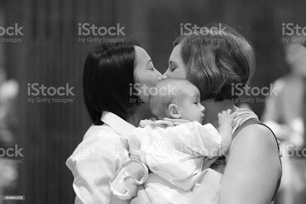 Happy Lesbian Family stock photo