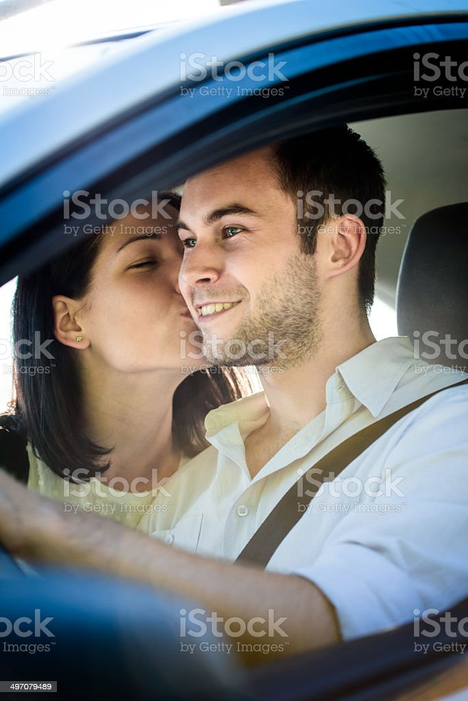 Happy life - couple in car royalty-free stock photo