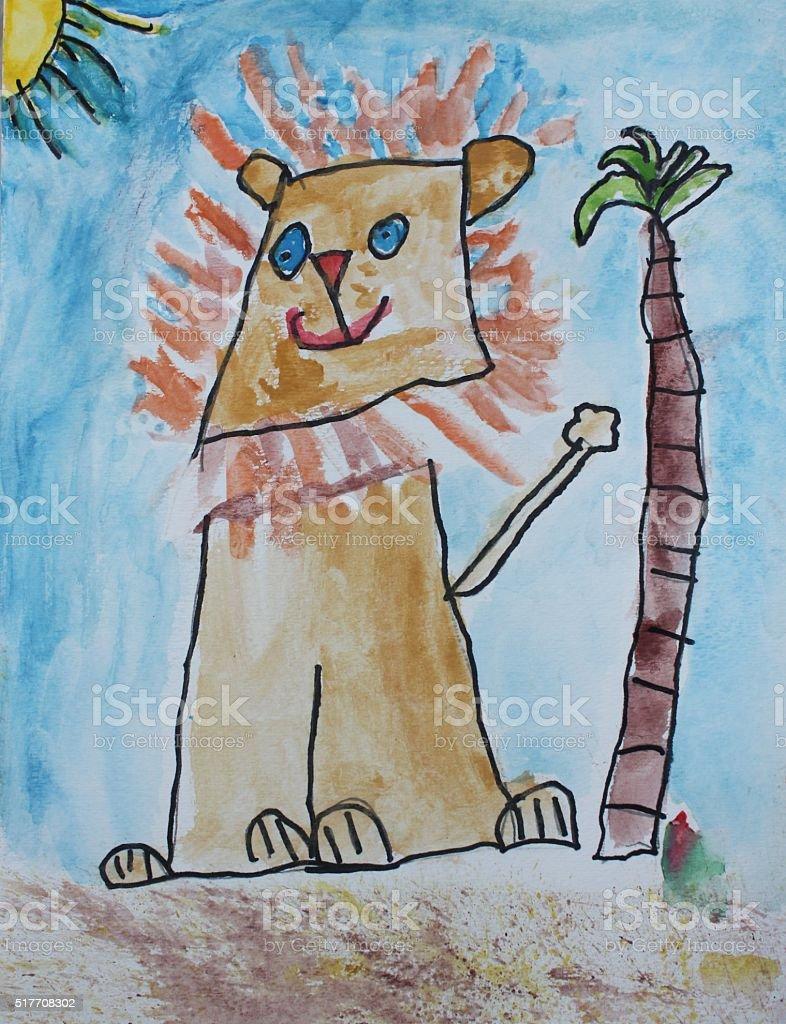 Happy Lion stock photo