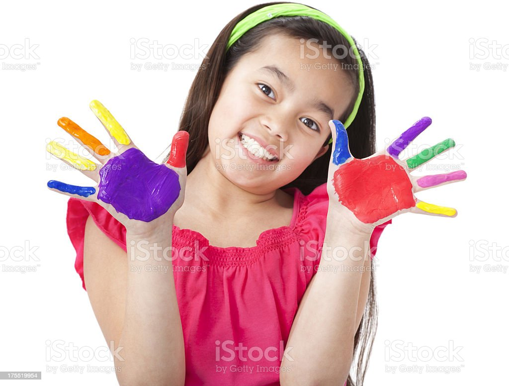 Happy Little Asian Girl With Painted Hands royalty-free stock photo