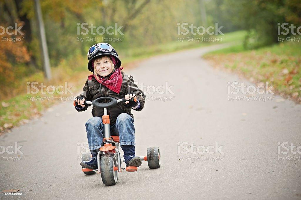 Happy Little Biker stock photo