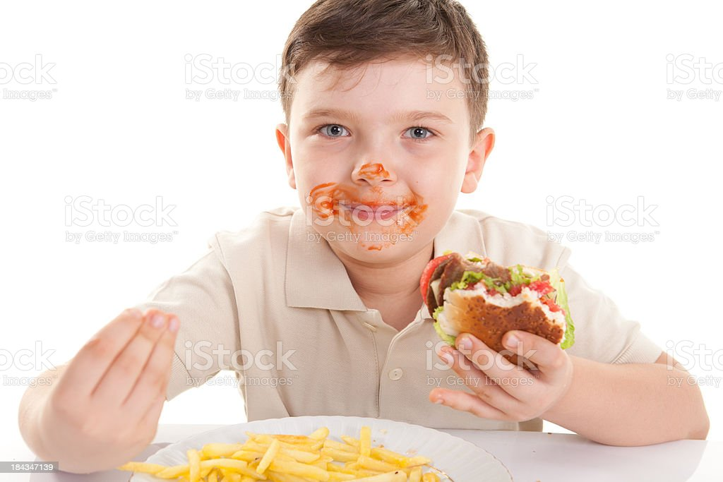 Happy Little Boy and Hamburger royalty-free stock photo