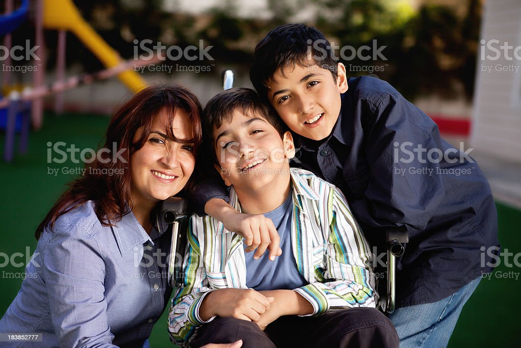 Happy Little Boy and His Family royalty-free stock photo