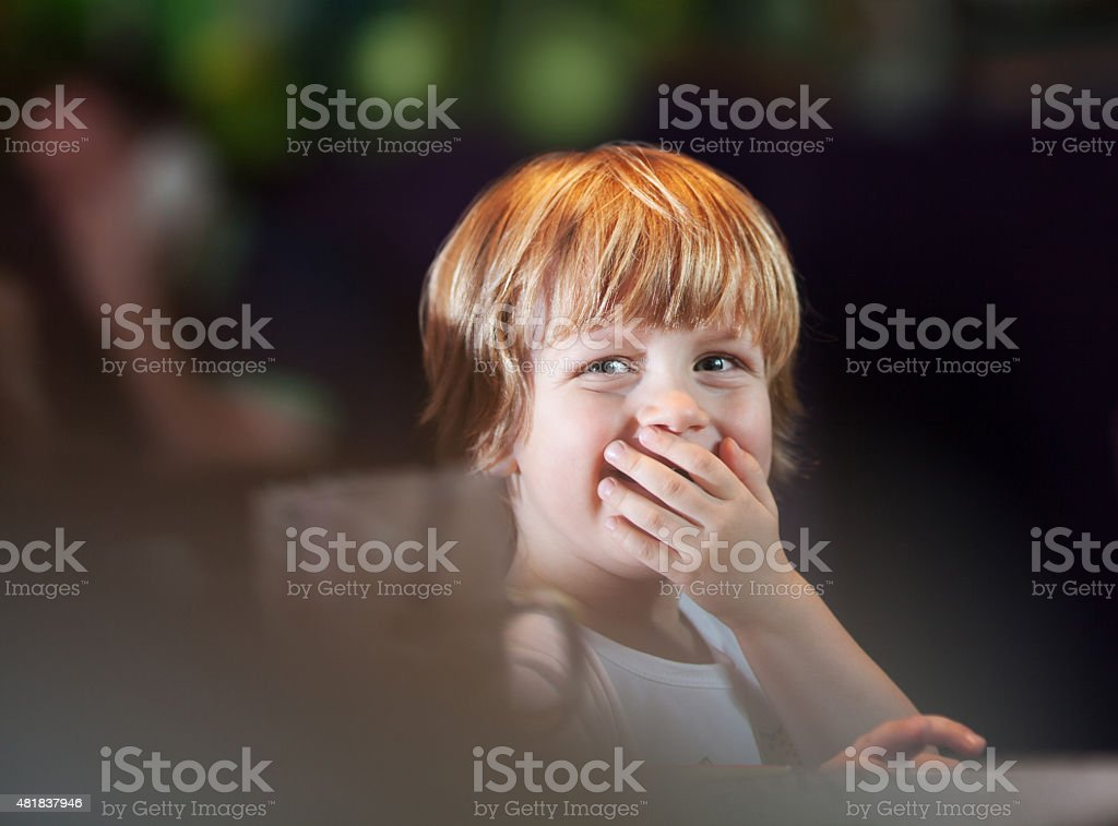 Happy little boy stock photo