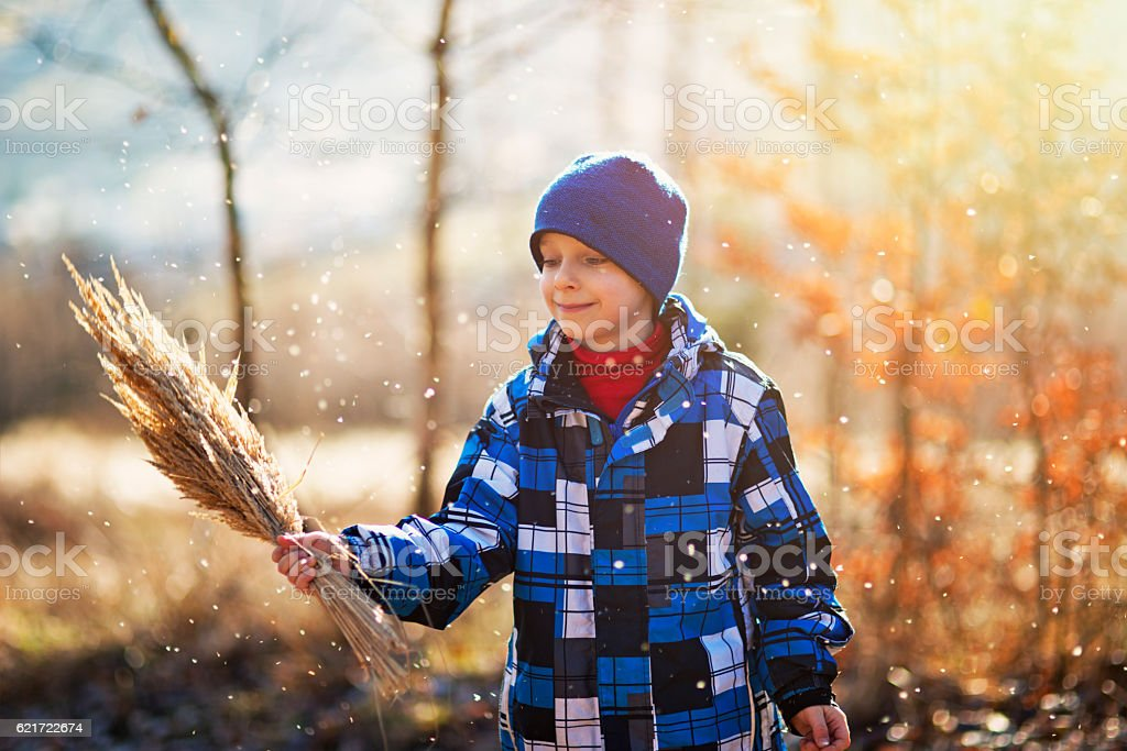 Happy little boy playing with dry grass on autumn walk stock photo