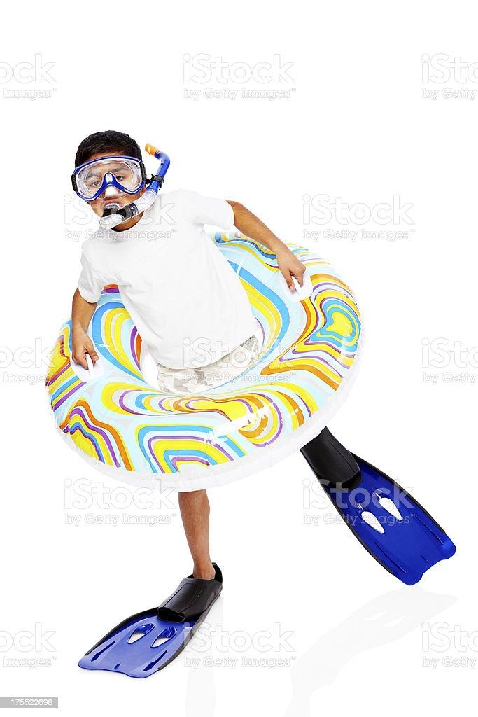 Happy little boy wearing snorkel equipments royalty-free stock photo