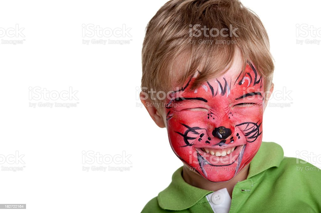 Happy little boy with face painting royalty-free stock photo